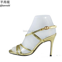 ce41ac3759f Qianruiti Gladiator Gold Rope Sandals Women Cages High Heels Chains Cross  Stilettos Open Toe Heels Metallic Leather Sandals 2018
