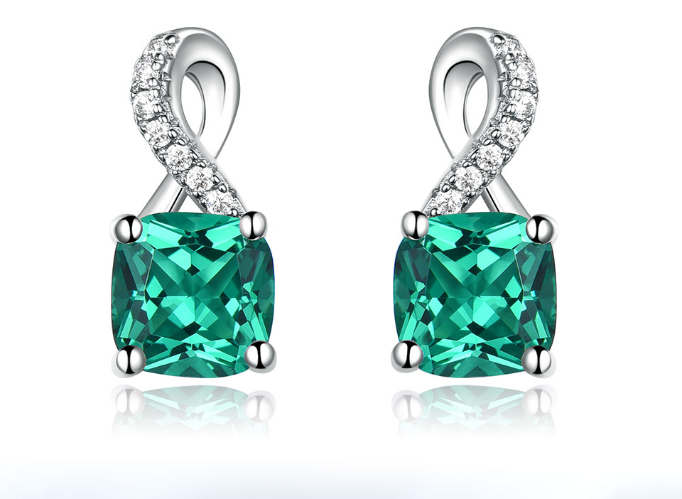 UMCHO Created Nano Emerald  925 sterling silver clip earrings for women EUJ091E-12