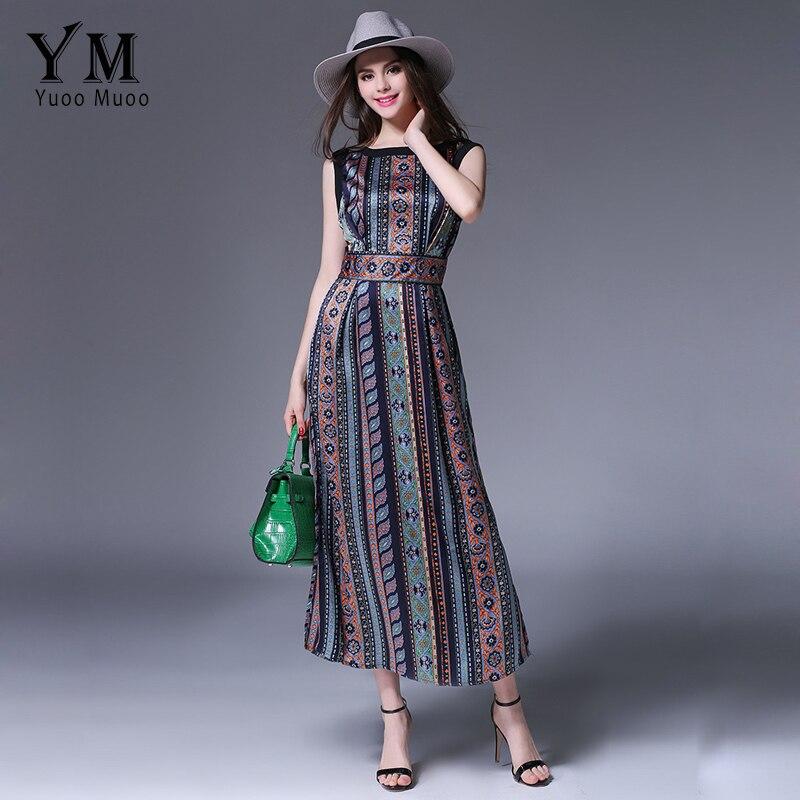 Buy Yuoomuoo New Fashion Printed European Style Maxi Dress Summer Sleeveless