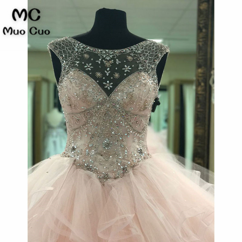 Ball-Gown Scoop-Neck Chapel Train Tulle Rhine Stone Beaded Prom Dresses4
