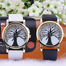 купить New Women Lady High quality Wishing Tree Dial Quartz Analog PU Leather Strap Wrist Watch Free shipping по цене 102.91 рублей
