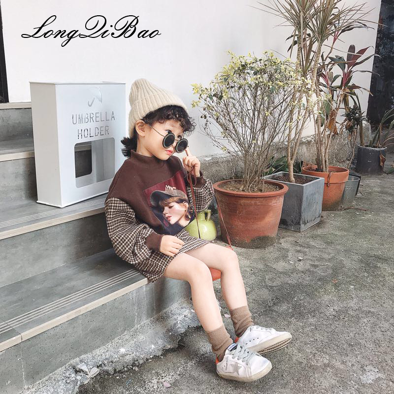 Girls plus velvet Yang Wei sweater plaid skirt set 2018 autumn and winter new big children and children two-piece plus knot front asymmetrical plaid skirt