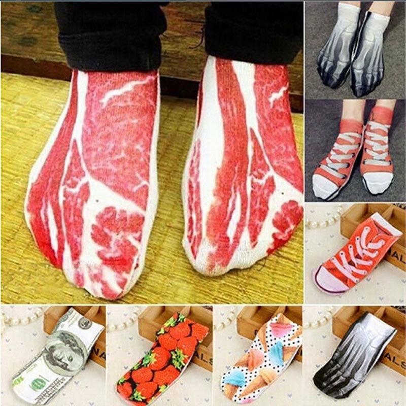 2019 Fashion Unique Socks Men New Painting Art 3D Women Sock Funny Novelty Pork Animal Vintage Retro Cotton Ladies Ankle Socks
