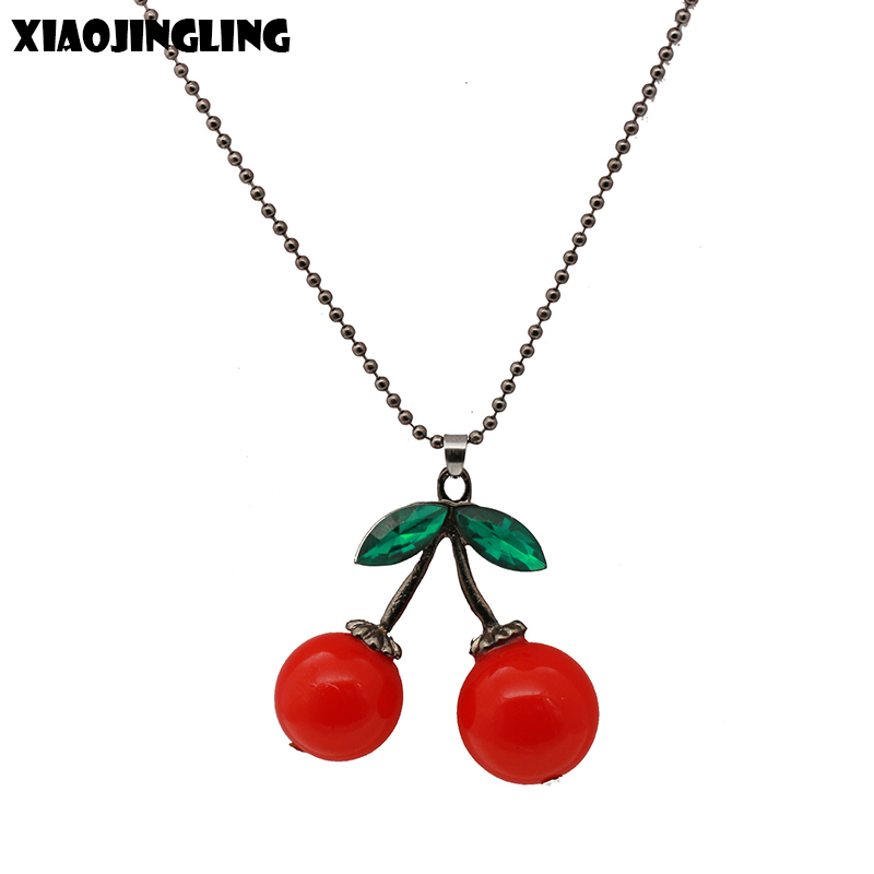 Creative Beads: XIAOJINGLING Trendy Red Cherry Crystal Pendant Necklace