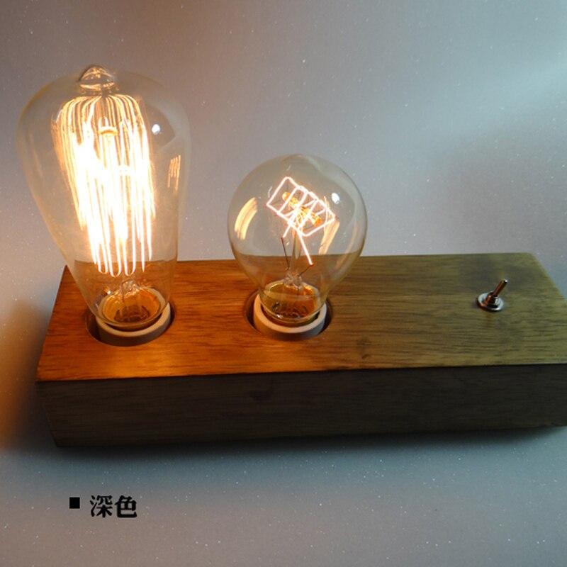 Дерева творческой личности исследования настольная лампа Nordic современный EDISON ЛАМПЫ вспоминал спальня кровать квадратная деревянная для Г...