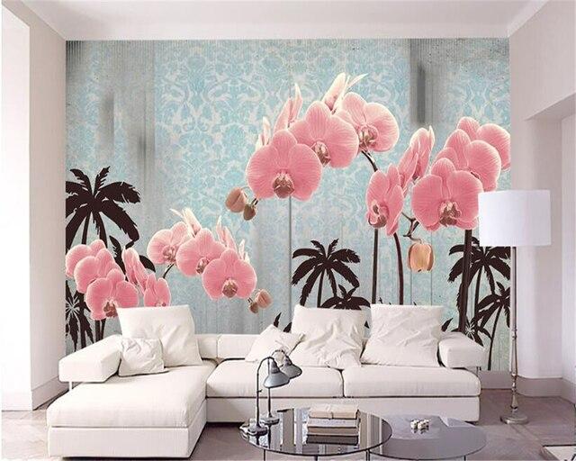 Beibehang 3D Wallpaper Flower Flower Tree Mediterranean TV ...