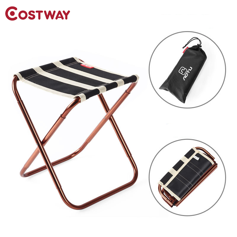 COSTWAY Ultra Light Outdoor Aluminum Stool Camping Folding Chair Oxford Cloth Fishing Chair Portable Beach Chair W0265 costway outdoor aluminum alloy backrest stool camping folding chair oxford cloth fishing chair portable beach chair w0263