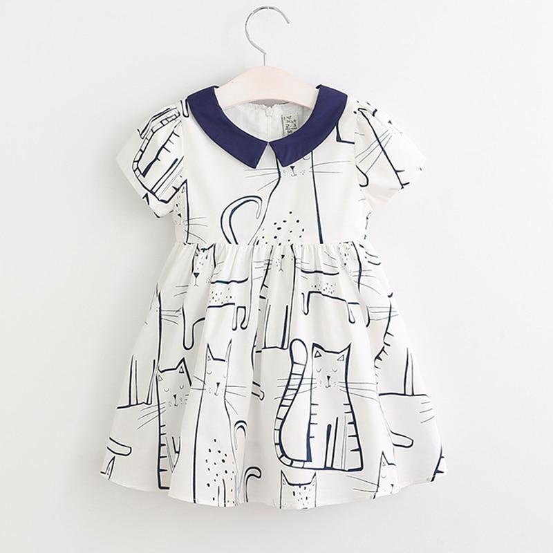 Spring Girl Clothes Kids Cartoon Cat Dress 2017 Girls Dress vestidos Children Dress