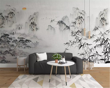 beibehang Customized wall papers home decor eco-friendly wallpaper new Chinese abstract ink landscape living room background