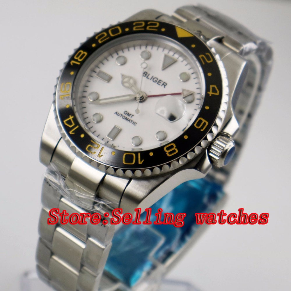 40mm Bliger White Dial ceramic bezel red GMT Luminous Hands Sapphire Glass Automatic Movement Men's Mechanical watches p99 40mm bliger white dial white ceramic bezel gmt luminous hands sapphire glass automatic movement men s mechanical watches