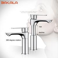 BAKALA 360 degree rotation basin faucet Multifunctio Bathroom Brass washbasin faucet basin mixer chrome faucet taps raised lower