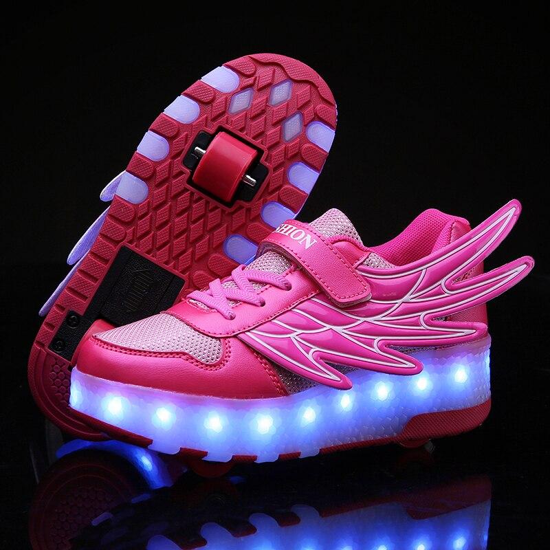 Baskets lumineuses deux roues USB lumière LED de charge chaussures de patin à roulettes pour enfants chaussures enfants garçons filles chaussures s'allument unisexe