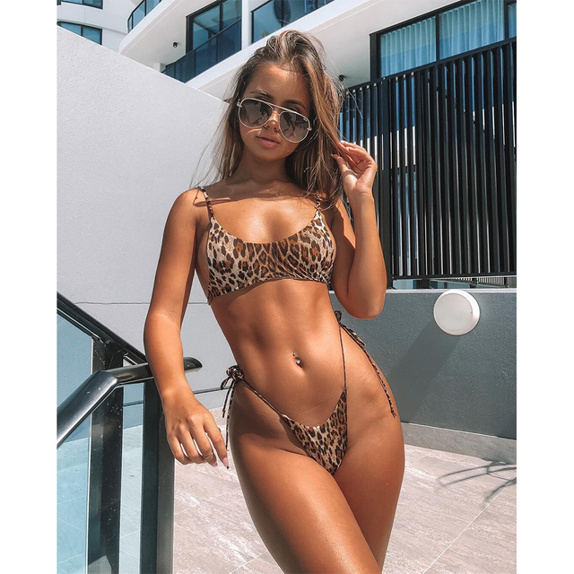 d62ee13539 OMKAGI Micro Bikini Sexy Push Up Swimsuit Women Hot Sale Swimwear Bandage  Bikini Set Tie-side Bathing Suit Maillot de Bain Femme