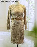 Потрясающий Золотой по колено коктейльное платье Лидер продаж одежда с длинным рукавом кристаллы бисер женские вечерние платья