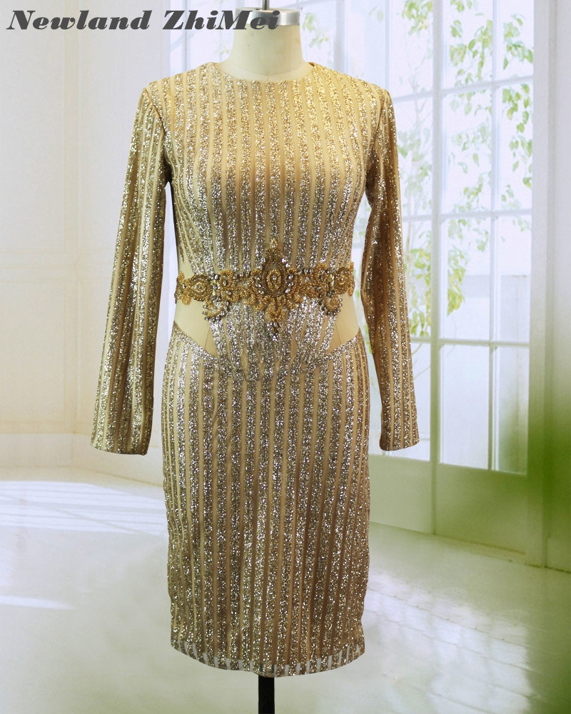 Stunning Gold Knee Length   Cocktail     Dress   Hot Sale Long Sleeves Crystals Beads Woman Party Gown   Dresses