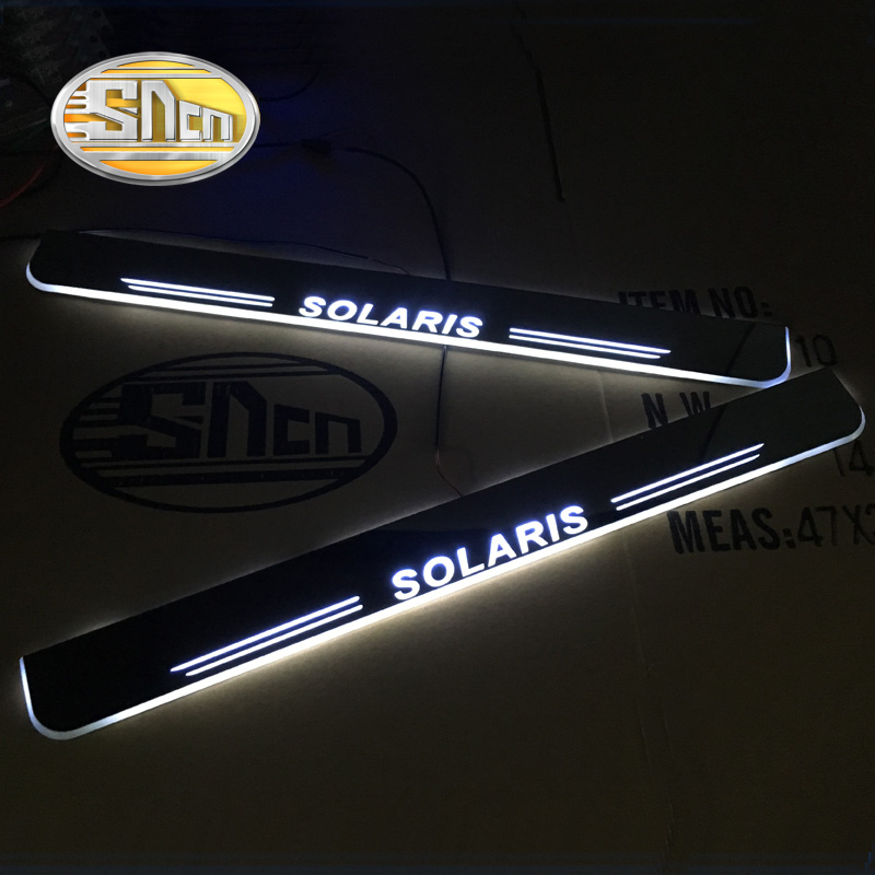 SNCN LED door sill for Hyundai Solaris Led moving lights door scuff plate outside door welcome pedal