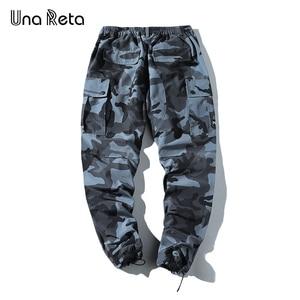 Image 4 - Una Reta pantalon de Camouflage pour homme, tenue Cargo, Streetwear, pantalon Long pour homme, style Hip Hop, taille élastique, collection décontracté