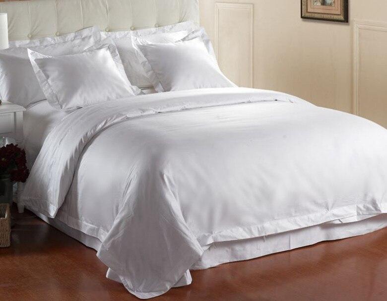 800 tc 100 cotton satin bedding set king queen size 4 pieces flat sheets white color customize. Black Bedroom Furniture Sets. Home Design Ideas