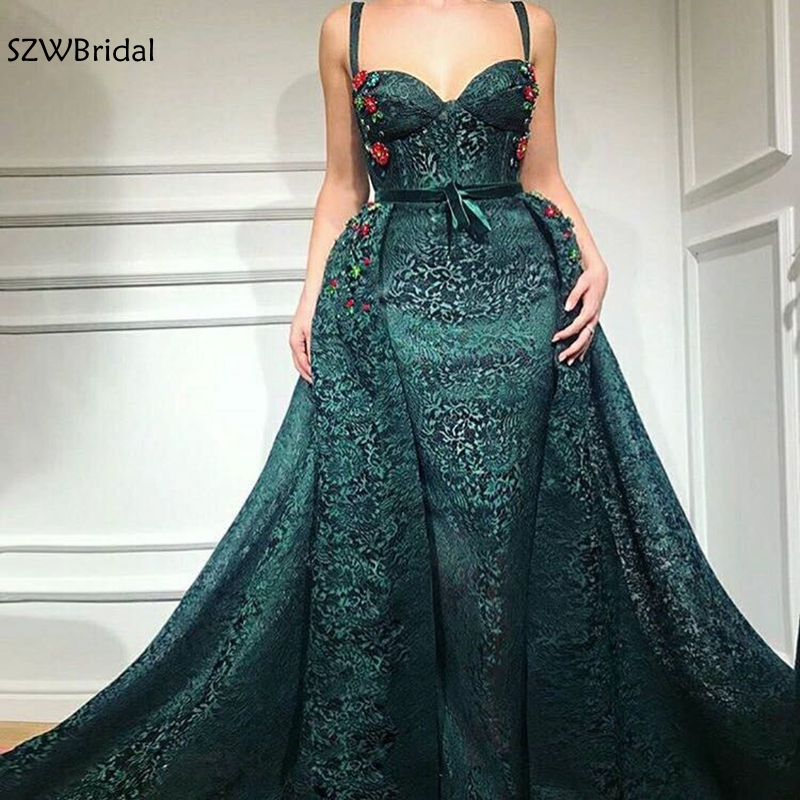 New Arrival Green Lace   evening     dress   2019 Spaghetti Strap   Evening   gowns Abendkleid Dubai Arabic long   evening     dresses   Party