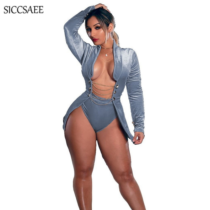 5a054c1d78 Chain Button Cardigan Two Piece Set Women Velour Outfits Bike Shorts Fall  2018 Velvet Stripper Bodysuits Sexy Club Wear Grey