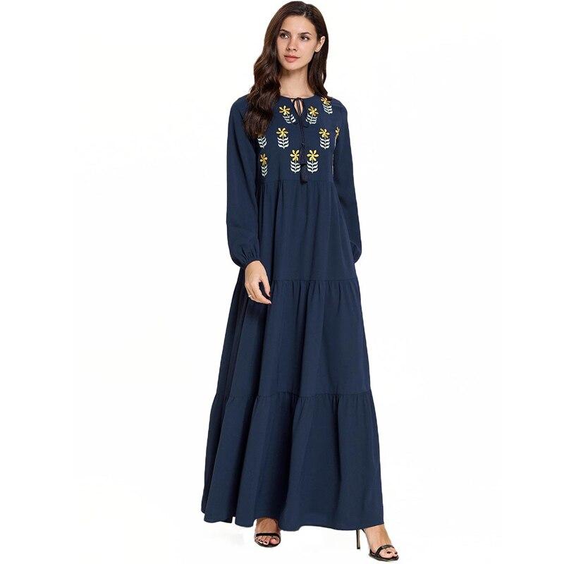 Vestido Longo Embroidery Muslim Dress Kaftan Pakistani Arabic Hijab Elbise Islamic Indonesia Robe Musulmane Longue Caftan Abaya