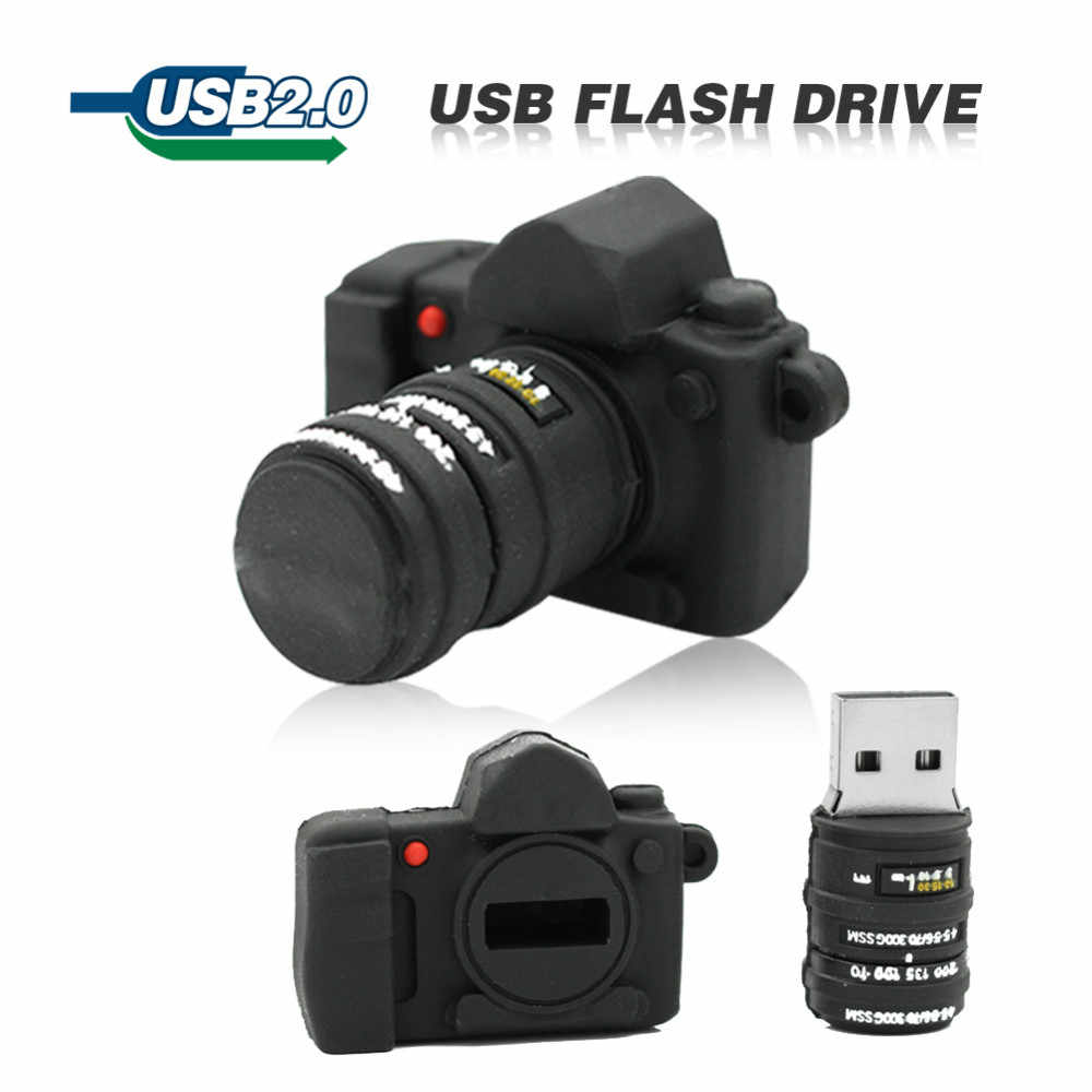 Fasion Usb Flash Drive USB 2.0 Pendrive 4GB 8GB 16GB 32GB Pen drive Mini black camera Memory stick lovely U Disk with DSLR logo