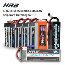 HRB Lipo 3S 4S 11.1V 14.8V 5000 mAh 2S 6S 7.4V 22.2V แบตเตอรี่ 2200 mAh 2600 mAh 3300 mAh 6000 mAh T สำหรับ TRAXXAS 1:10 รถ RC FPV เรือ
