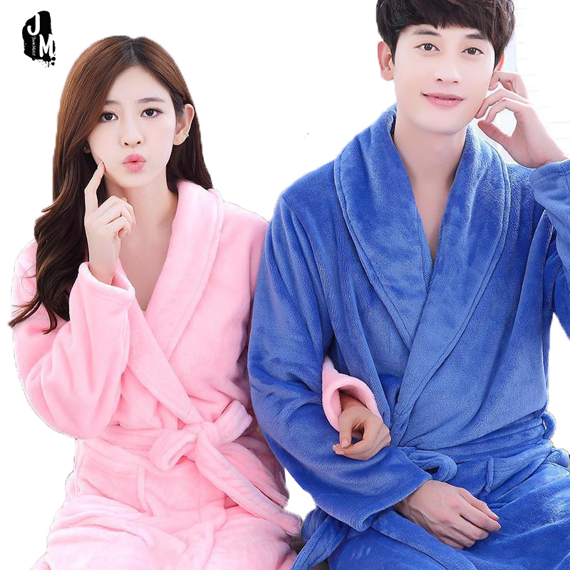 New Couples robe long sleeve Warm winter Leopard bath robe man and woman Nightwear Robes Plus Size flannel Female Bathrobes