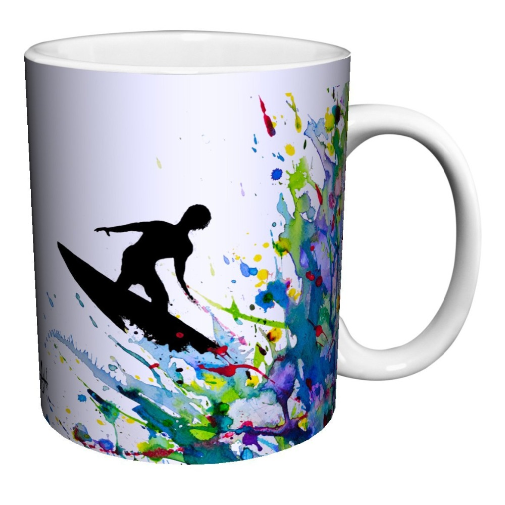 Surfer On A Paint Wave Mugs Ceramic Gift Coffee Tea Cocoa Cups Home Decal