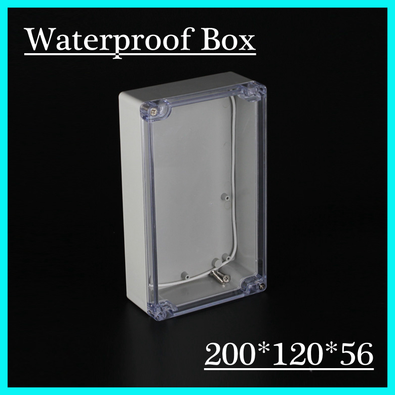 (1 piece/lot) 200*120*56mm Clear ABS Plastic IP65 Waterproof Enclosure PVC Junction Box Electronic Project Instrument Case 65 95 55mm waterproof case