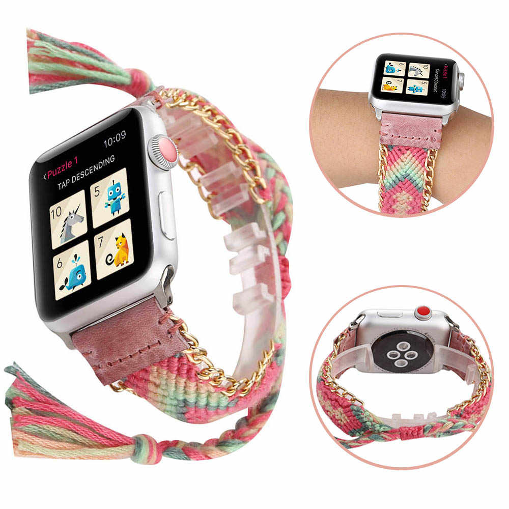 Fashion Handmade Woven Rope Bracelet for Apple Watch Band Series 5 4 3 2 Women Girl Jewelry Wrist Strap for iWatch 40/44/38/42mm