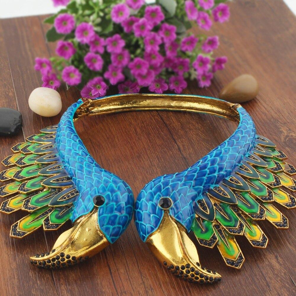 Tuliper Enamel Flamingo Bird Animal Statement Necklace Austrian Crystal Rhinestone Necklace For Women Party Jewelry Gift