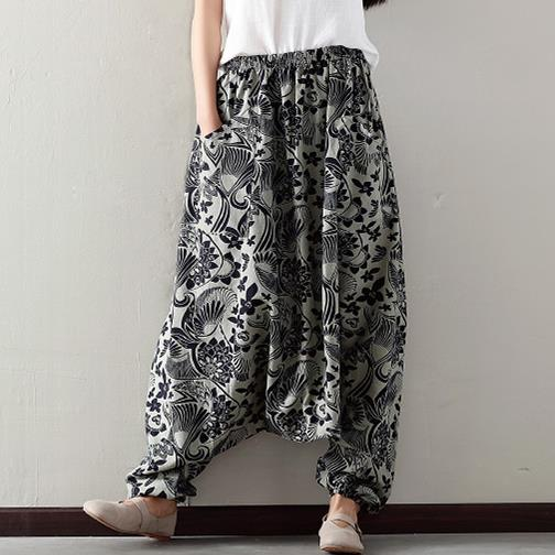 Vintage Print Plus Size Harem Pants Women Elastic High Waist Casual Cotton Linen Lantern Trousers New Pantalon Femme X92