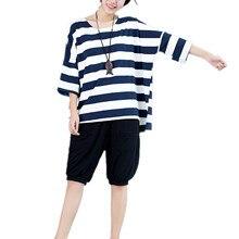 Harajuku Korean Stripe T Shirts Women Tops Plus Size Clothing Blusas Femininas 2016 Hipster Cropped Autumn Tee Shirt Femme DH822