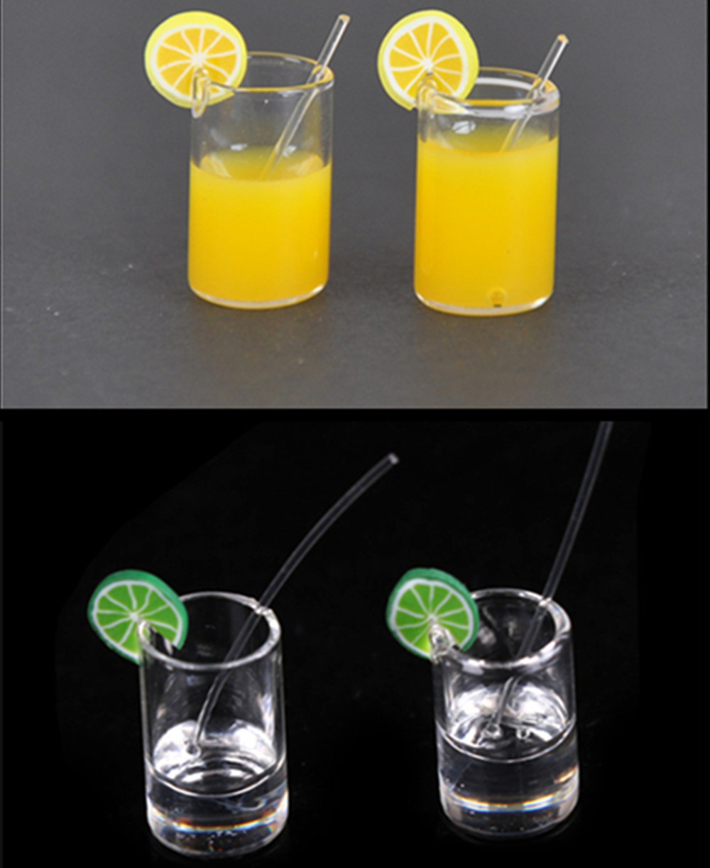 2pcs 1:12 Mini Lemon Water Cup Dollhouse Miniature Milk Cup Drinking Water Cups Dollhouse Kitchen Accessories