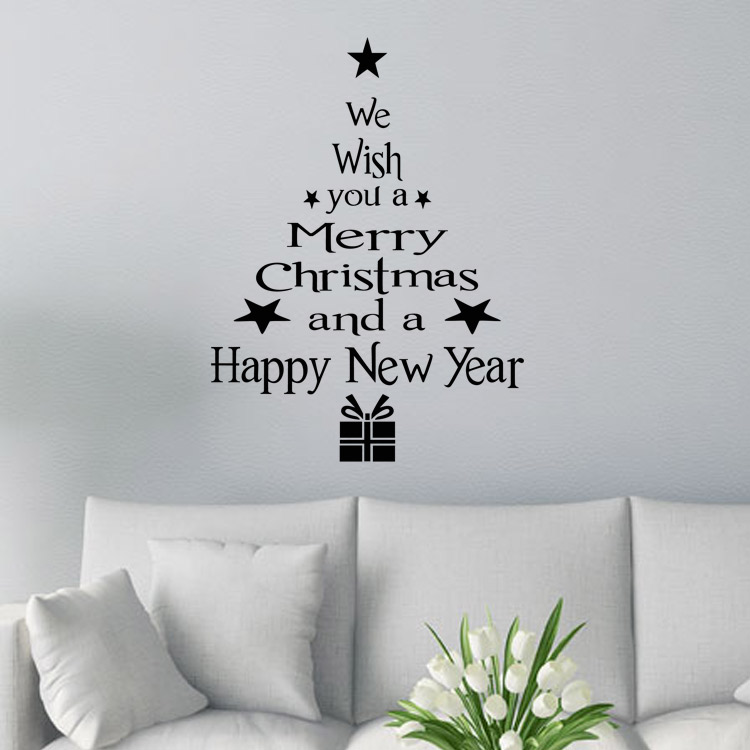 Home decor wall stickers Merry Christmas Happy New Year best wishes ...