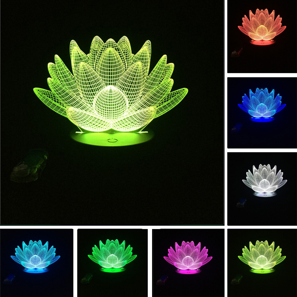USB LED Lotus Flower Night Light 3D 7colors Christmas Gifts Mood Lamp Touch Kids Child Living/Bedroom Table/Desk Sleeping Light 3 styles novelty lighting hockey player ice player 3d led night light touch usb lamp holiday gifts table desk light for kids