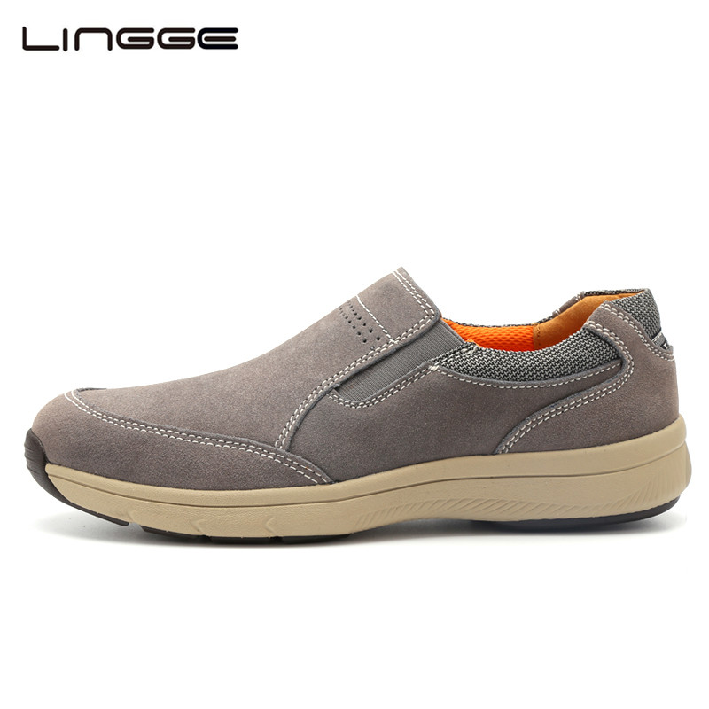 LINGGE Men's Shoes Loafers 2018 New Suede Leather Casual Shoes Breathable Designer Slip On Lighweight Summer Shoes #5733-1