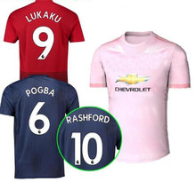 1d2c7bfec6e 2018 Manchester United LUKAKU ALEXIS 3rd soccer jersey 182019 Pink AWAY POGBA  MARTIAL LINGARD MATIC SMALLING