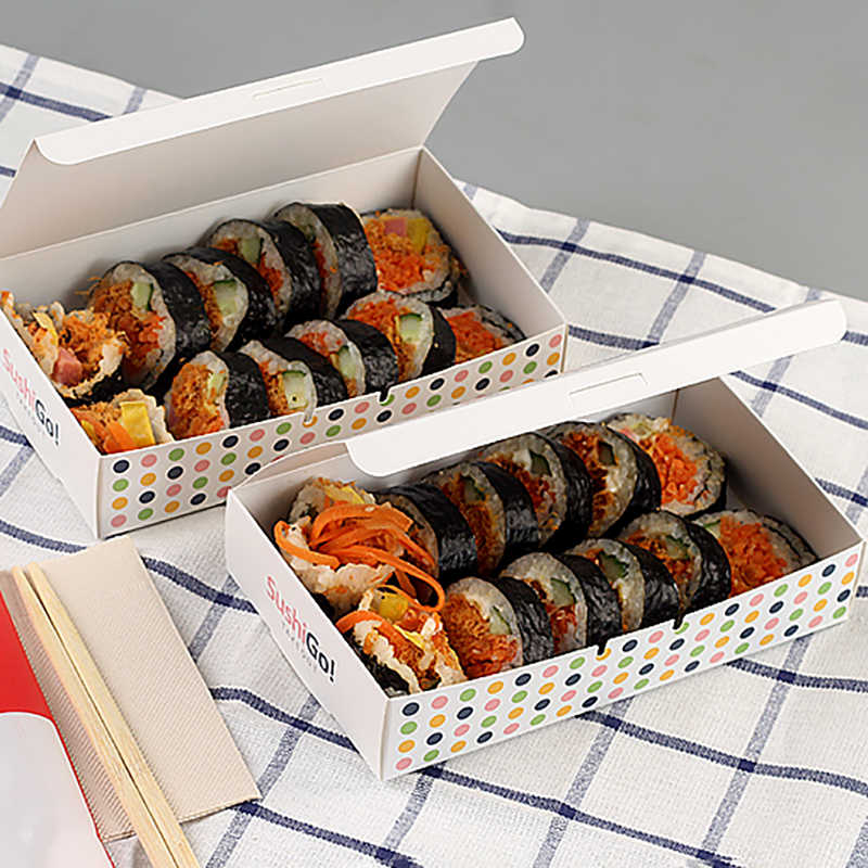 Korean Fried Chicken Packing Boxes Disposable Food Containers Fast Food Restaurant Bowl Sushi Packing Tools Christmas Paper Box