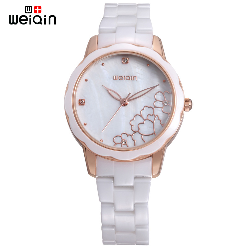 WEIQIN High Quality Luxury Ceramic Watch Women 2017 Fashion Shell Dial Ladies Watches Elegant Relogio Feminino W3221