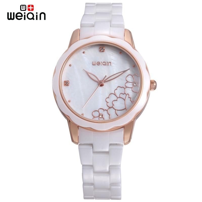 WEIQIN High Quality Luxury Ceramic Watch Women 2018 Fashion Shell Dial Ladies Watches Elegant Relogio Feminino W3221 weiqin w3224 shell dial ultra thin ceramic women quartz watch