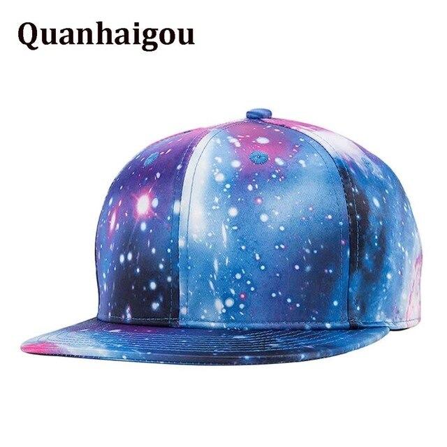 74ac54093b7 Blue Galaxy Snapback Unisex Trucker Hat , Hip Hop Starry Sky Plaid Flat  Brim Adjustable Baseball Cap Dad Caps Cheap summer visor