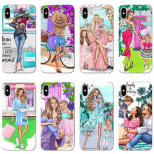 Fashion Black Brown Hair Baby Mom Girl Case For iPhone SE S 5 6 6S 6Plus 7Plus 8Plus MAX XR XS X10 Soft TPU Phone Cover(China)