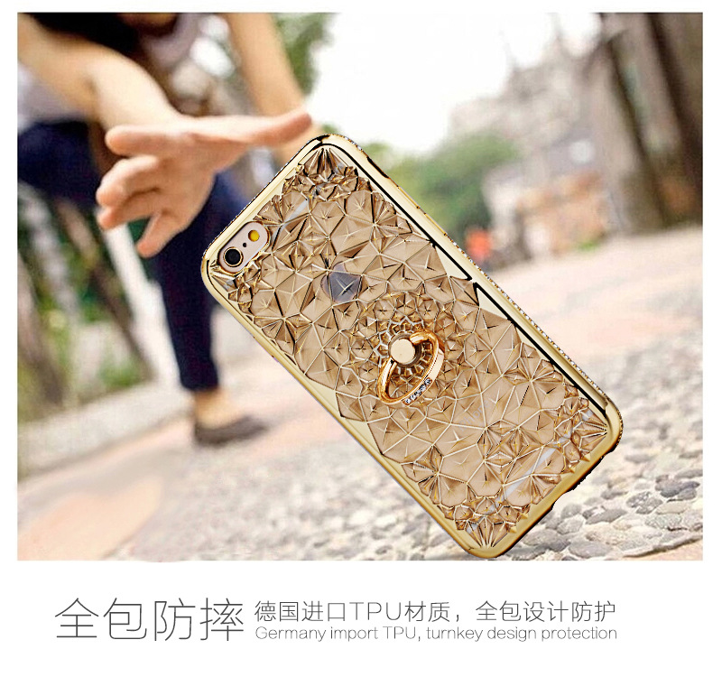 HTB1LT7SQ3HqK1RjSZFEq6AGMXXaL For iPhone 11 Pro XS Max XR Case Luxury 3D Soft Ring Capa For iPhone 5 6 6S 7 8 Plus Ring Silicon Glitter Rhinestone Stand Cover