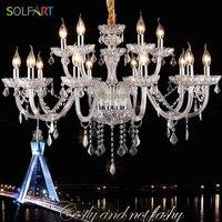 GENESIS LIGHTING 8001 Clear Handmade Glass Arm LED Crystal Hanging Chandeliers Lighting 4 Color 6 Lights