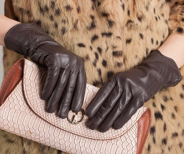 High Quality Women Genuine Sheepskin Winter Women Leather Gloves Lady knitting lined Warm Winter Mittens women gloves 41