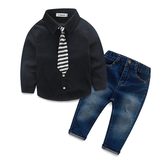 Горячий Новый 2016 лето джентльмен младенца юноши дети комплект одежды детская одежда с длинными рукавами футболка + брюки дети два-мода костюм