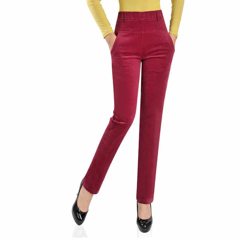 Pantalones De Pana De Terciopelo De Invierno 2020 Pantalones Elasticos De Cintura Alta Para Mujer Pantalones De Pana Pantalones Para Mujer De Talla Grande Pantalones Y Pantalones Capri Aliexpress