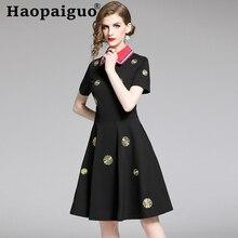 S-2XL Big Size Hepburn Style Midi Dress Summer 2019 Short Sleeve Embroidery Floral Dress Women Loose Elegant Vintage Black Dress black floral embroidery dress